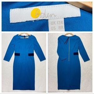 BODEN US 8 R UK 12 Sheath Dress Teal Stretch